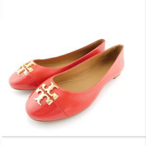 New TORY BURCH Logo Brilliant Red Ballet Flats 8.5